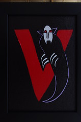 V is for Vampire (Empress of Blandings) Tags: red black cute scarlet dark painting acrylic vampire nosferatu letters goth dracula v doodle doodles alphabet calligraphy fangs claws acrylicpaint alphabets bloodthirsty redeyes letterv bloodred doodlepainting cutevampire letterdoodle gothalphabet alternativealphabet altalphabet