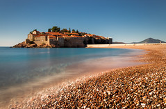 Sveti Stefan in 30 seconds (snowyturner) Tags: longexposure beach coast pebbles islet adriatic montenegro