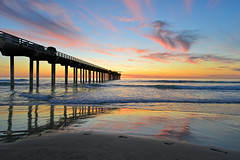 Scripps Pier Sunset (markwhitt) Tags: ocean california travel light sunset usa color reflection beach nature water beautiful beauty clouds reflections landscape outdoors coast pier sand nikon scenery colorful waves sandiego outdoor scenic lajolla adventure pacificocean southerncalifornia californiacoast scrippspier markwhitt markwhittphotography