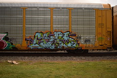 ? (TheGraffitiHunters) Tags: auto street blue orange black green art car train graffiti colorful paint purple tracks spray rack carrier freight autorack benched benching