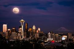 Super Seattle Moon Redux (howardignatius) Tags: seattle moon night wa spaceneedle kerrypark mtrainer supermoon
