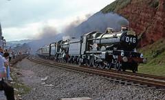 5051 + 4930 The Great Western Limited. Dawlish, Devon. July 14, 1985 (photo 1 of 2) EXPLORED !! (Brit 70013 fan) Tags: greatwesternlimited greatwesternrailway great railway dawlish devon 5051 drysllwyn castle hall hagleyhall 4930 gwr150 steam engine earlbathurst