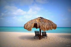 Relaxing (MM_Miha) Tags: blue sky holiday beach water relaxing carribean aruba umbrela