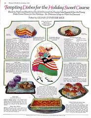 Holiday sweets 1928 (katinthecupboard) Tags: desserts 1928 womensmagazine dessertrecipes vintageperiodicals