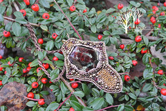The warrior's honor (~Gilven~) Tags: metal beads jewelry medieval bead warrior pearl swarovski pendant chainmail garnet beadembroidery japanesebeads foggyforest swarovskipearl