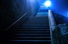 Blue stairs (julienseignol) Tags: blue light cold fog night stairs perspective foggy bleu symetry nuit froid brouillard ascension escaliers fuite