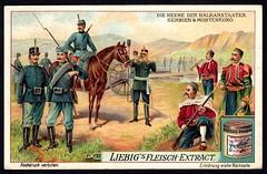 Liebig Tradecard S983 - Serbian and Montenegrin Soldiers (cigcardpix) Tags: vintage advertising soldier ephemera uniforms liebig chromo tradecards