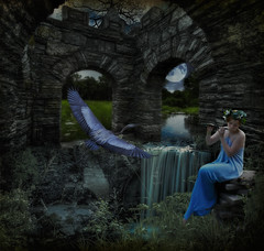 Enchanted Coldwater Spring (karlacaspari) Tags: music woman moon flower bird castle heron girl beauty stone female night creek outdoors waterfall pond tranqulity meadow peaceful arches flute garland structure nighttime fantasy mystical serene piper blueheron magical sureal flutist lamdscape flowergarland coldwaterspring