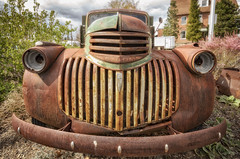 (garshna) Tags: old red chevrolet abandoned truck rust ruins neglected rusty grill forgotten weathered washingtonstate oldcars derelict deserted classiccars decayed easternwashington junkcars