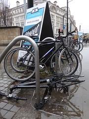Dead bike (stillunusual) Tags: uk england urban rain bike bicycle manchester cycling cityscape streetphotography streetscene cycle urbanlandscape mcr urbanscenery 2016 deadbike manchesterstreetphotography