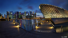 LV + CBD @blue hour (Ken Goh thanks for 2 Million views) Tags: lighting longexposure blue sky cloud reflection water colors night marina landscape photography bay pentax district central smooth wideangle business hour boardwalk cbd sands 1020 lv mbs panoromic simga k5iis