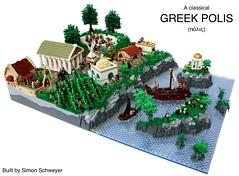 A Classical Greek Polis (Simon S.) Tags: city garden greek temple oracle vineyard ancient theater lego bricks troja homer polis sheperd moc herder trireme eurobricks