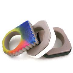 Three Rings (higirlsdesigns) Tags: team rings clay challenge stoney polymer pcagoe