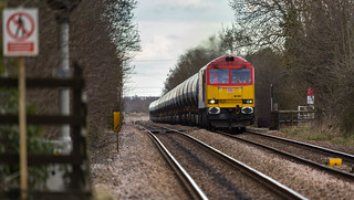 DBS Class 60 no 60001 approaches Rolleston Station on 24-02-2016 with 6M00 loaded tanks from Humber to Kingsbury