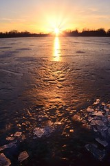 Ice Melt (Theresa*) Tags: winter sunset sun cold ice illinois wayne prattwaynewoods nikond7000