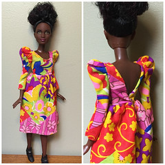 Petite Fashionista in Vintage Francie Dress (Foxy Belle) Tags: 2001 black vintage dark doll skin barbie mold fashionista francie petite fashionistas 2016