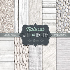 Natural White Textures: 10 Digital Papers (wood, stones, fur, fabric, burlap). Vintage, shabby, rustic, distressed, white paper, scrapbook. (octopusartis) Tags: wood white texture digital scrapbook scrapbooking paper fur pattern cottage fabric download backgrounds instant chic shabby
