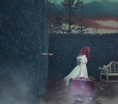 Blue Neighborhood (Mineisha) Tags: blue inspiration selfportrait girl surrealism conceptual redhair suitcase squarecrop fineartphotography