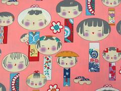 2667B -- Kawaii Kokeshi Doll Fabric in Light Coral, Japanese Doll Fabric (ikoplus) Tags: light cute coral japanese for clothing doll sale fabric commercial kawaii oriental supplies kokeshi ikoplusfabric 2667b