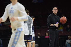 The warmup isn't just for the players tonight in Philadelphia. Fr. Pete McCormick gets in on the action before Notre Dame's Elite Eight showdown with North Carolina. Photo credit: Michael Yu | The Observer