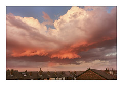 Amazing  Sky (SFB579 Namaste) Tags: uk sunset england sky orange sun white black nature clouds gold evening amazing rooftops sony yorkshire structure tiles wakefield late setting compact outstanding billowing