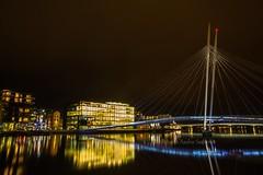 Ypsilon - Drammen (B.AA.S.) Tags: bridge nature water norway night river lights norge natur nightpicture grnland drammen elv 2016 ypsilon buskerud drammenselva papirbredden