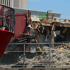 Peeling Apart (lefeber) Tags: city nyc newyorkcity urban newyork architecture fence buildings downtown waterfront demolition deconstruction
