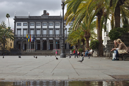Plaza Santa Ana, pigeons' perspective, after a rain shower