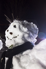 Portrait Of A Hipster Snowman (k009034) Tags: winter portrait people sculpture snow kids night scarf mouth finland dark nose sticks snowman eyes rocks no space nopeople copyspace copy oulainen 500px teamcanon matkaniva