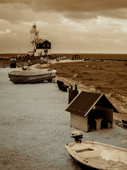 Waterland Lighthouse (Adventures in Infrared) (Torsten Reimer) Tags: ocean sea sky lighthouse netherlands boat europa europe himmel infrared nl marken leuchtturm noordholland waterland niederlande infrarot moeniswerf olympusepl5