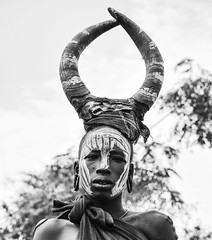 Mursi Tribe (Rod Waddington) Tags: africa portrait people blackandwhite woman monochrome face female costume outdoor african painted traditional horns tribal afrika omovalley ethiopia tribe ethnic mursi afrique ethiopian omo etiopia ethiopie etiopian