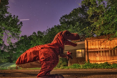 Sneak attack on the neighbor's house (Penalty Box Photography) Tags: night toy dinosaur forcedperspective sneakattack week16 52of2016