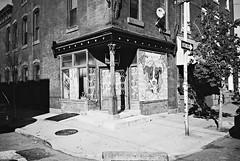 DR1-E008 (David Swift Photography Thanks for 15 million view) Tags: film philadelphia 35mm studio paintings murals storefronts ilfordxp2 streetscapes southphilly yashicat4 davidswiftphotography
