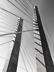 Infrastructures In Concert (TMimages PDX) Tags: city bridge urban blackandwhite tower monochrome portland geotagged photography photo image streetphotography cables photograph pacificnorthwest suspensionbridge fineartphotography iphoneography