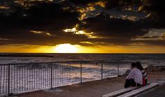 date on the sunset (GogyJen.L) Tags: boy sunset sea people sun girl israel waves fate date haifa