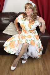 Earrings pearls bows and a flowery dress. (bethany_labelle) Tags: up fashion hair photo shoot pin dress femme pearls retro prom transvestite frock 50s earrings crossdresser bows stilettos flowery trannie petticoats