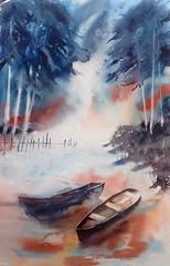 Endormie (carine hubeaux) Tags: lac bleu bateau bois barque tang