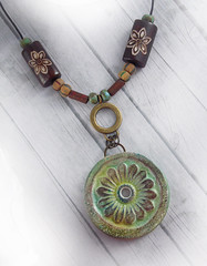 Ceramic Green Flower Round Pendant2 (WiredOrchid) Tags: iris brown flower green floral yellow ceramic design necklace pattern teal round beaded mishley polymerclaypendant