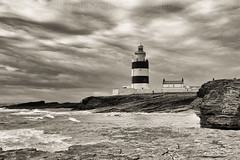 Hook Head lighthouse. (Dubspotter2015) Tags: sea blackandwhite bw lighthouse white seascape black nature water monochrome clouds landscape photography coast nikon waves outdoor sealife coastline fullframe hdr irishsea seawater naturescape d700 nikond700