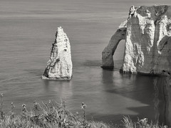 White Chalk Elephant (enneafive) Tags: light sea cliff elephant france beach nature water landscape chalk arch noiretblanc olympus shore normandy falaise tretat omd aiguille seeside em5 larcheetlaiguille