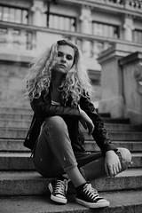 Lisa-Marie (Sarah Gallaun) Tags: portrait blackandwhite girl monochrome outdoors model curlyhair chucks wienermodels sarahgallaun