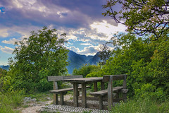 Take a break (PH-AC) Tags: wood sky green nature grass canon bench table relax lunch picnic break view natura enjoy piante scorcio goodview lagodigarda woodtable pausa beautifulplace 100d