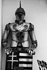 Armour (Crisp-13) Tags: white black monochrome hungary budapest helmet suit knight shield armour