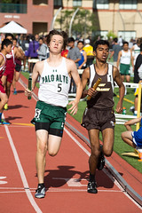 Henry running the 1600m leg of the DMR (Malcolm Slaney) Tags: track paloalto dmr trackandfield 2016 paly distancemedleyrelay stfrancisinvitational