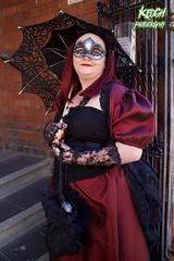 IMG_9118 (Neil Keogh Photography) Tags: red black female umbrella bag dress mask lace gothic goth victorian gloves parasol corset satin masquerademask whitbygothweekend april2016