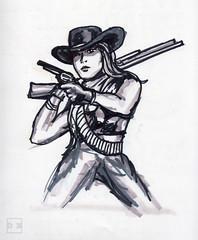 Fernanda-West-4-19-16-100 (artistbyday) Tags: blackandwhite pose rifle western wanted cowgirl cowboyhat wildwest fernanda lifedrawing sixshooter drsketchys artmarkers