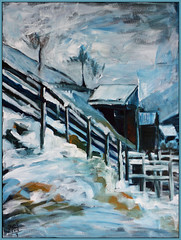snow in april (Jocawe) Tags: blue white house snow black fence painting 50mm availablelight canvas dpp acryl ocre canoneos60d