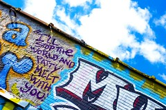Lyrical Advertising (Chris B Richmond) Tags: world sky brick wall clouds canon advertising outside graffiti lyrics colorful paint with nashville you outdoor tennessee stop melt dslr patty lyrical