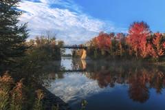 Mcfarlane Morning mist reworked (superdavebrem77) Tags: bridge sky reflection water peterborough