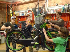 WorkCycles mechanics hard at work on the 2016 Special Editions (@WorkCycles) Tags: green dutch amsterdam bike bicycle bikes cargo special henry workshop fietsen fiets fr8 werkplaats workcycles